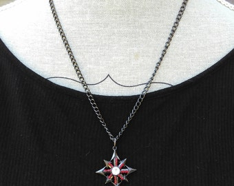 Gothic necklace, vampire blood, pagan pagan witch Red Star magic, metal, festival