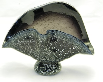 Black and Silver Clam Shell Vase    (Napkin holder/Letter Holder)