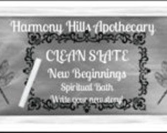 CLEAN SLATE Therapeutic Bath Salts, Spiritual, Ritual, Relaxation. 5 ounces with bonus reusable cotton muslin bath tea bag.