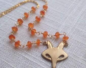 Fox Tale Necklace [brass, carnelian]