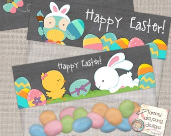 Easter Treat Bag Topper,s Printable Easter labels, Easter tags, Easter party favors with bunny rabbit, chick, owls and eggs