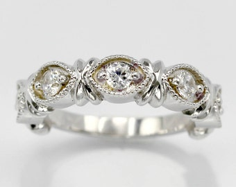 Art Deco Sterling Silver Half Eternity Band with Simulated Diamonds-Wedding, Engagement, Promise, Proposal, Anniversary, Love and Friendship