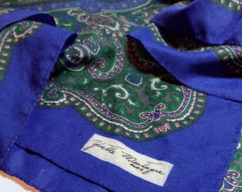 Yvette Montagne Paris Designer Silk Scarf, Royal Blue with Green Pink White Paisley