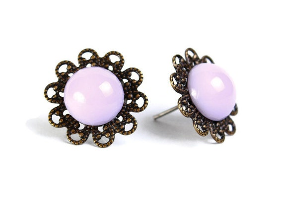 Vintage lilac purple hypoallergenic surgical steel post earrings READY to ship (463)