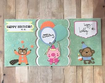 Triplet Birthday Cards, Paper Handmade Greeting Card, Happy Birthday Cards Handmade, Sibling Birthday Card Set, Boy Girl Triplets, Blank Car