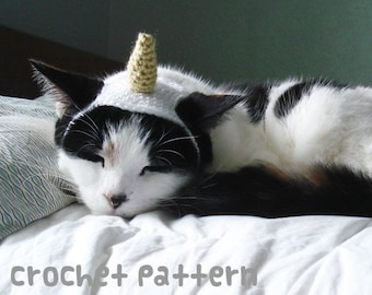 CROCHET PATTERN - Pet Hat Costume - PDF Instant Download - Unicorn Cat - Cute Halloween Disguise