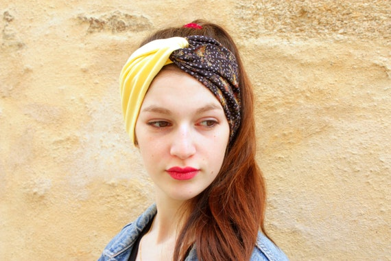 Headband, Turban, Retro hairstyle bicolor flower satin, gray purple Jersey cotton and Viscose straw yellow