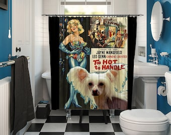 Chinese Crested Dog Art Shower Curtain, Dog Shower Curtains, Bathroom Decor - Too Hot to Handle Movie Poster