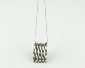 """Long Necklace """"Capitoné"""" Collection - Sterling Silver"""