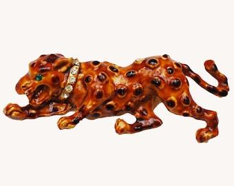 Leopard Brooch - Spotted Lion - Enamel rhinestone - brown - Wild cat - Figurine pin