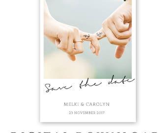 Save the-Date Printable Polaroid - Digital File- photo save the date Card -Photo Card-Announcement Invites