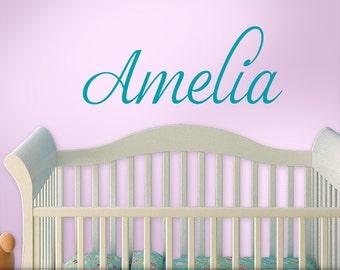Baby Nursery Wall Sticker - Personalized Nursery Decal - Baby Name Nursery Decal - Baby Name Wall Sticker -  Script Font Amelia (shown)