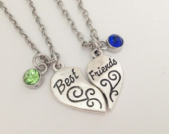 Set of 2 best friend necklace - birthstone necklace - friendship necklace - heart necklace - birthday gift - christmas