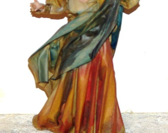 Vintage Art Statue Italian Maiden, Statue Made w Terracotta Clay (Earthenware) & Clothes made w Paper-Mache,Signed, Handmade Tuscany 197
