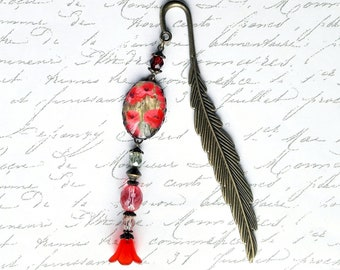 Pen, poppies, pink and Red pattern cabochon bookmark