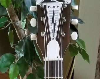1950's Kay N1 Guitar Headstock Badge Silver Color Over Thick Foil