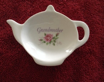 Ceramic Teabag Holder Grandmother with Roses  4.5 ""
