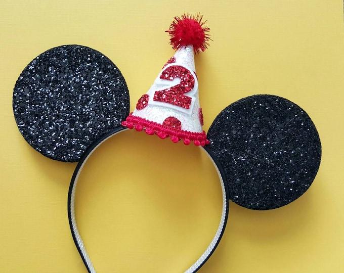 Glittery Mouse Ears Headband || Birthday Ears ||  Mouse Birthday || Birthday Mouse Ear Headband ||  Ears ||