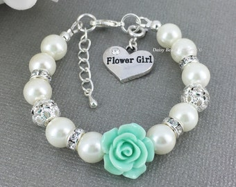 Mint Flower Girl Bracelet Flower Girl Jewelry Flower Girl Gift for Her Pearl Bracelet Charm Bracelet Girl's Jewelry Wedding Jewelry FG101