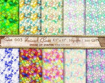 """Glass Digital Paper """"Old Stained Glass"""", Stained Textured Digital Scrapbook Paper Pack (8.5x11""""-300 dpi), scrapbook Digital papers - Des.003"""