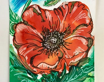 ACEO Original poppy watercolour painting flower artcard