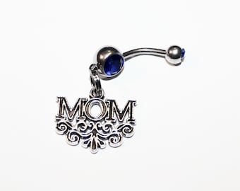 Mom Belly Button Ring, Mother's Day Jewelry, Navel Ring, Belly Piercing, Gift For Mom