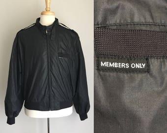 Vintage Members Only Black Racer Jacket 80s L Sz 44