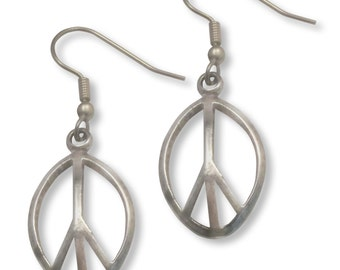Peace Sign Earrings Polished Silver Finish Pewter #921
