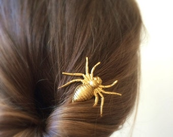 Spider hair pin gold Spider bobby pin Spider hair clip halloween hair pin halloween costume hair pin gothic hair pin goth hair pin s