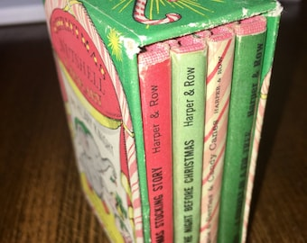vintage 1963 Harper & Row Christmas nutshell library by Hilary Knight first edition set