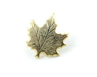 Vintage Maple Leaf Pin, Gold Tone, STL56