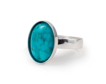 Turquoise Ring, Mens Gemstone Ring, Oval, Mens Turquoise jewelry, Mens Ring, Adjustable Ring, Sterling Silver Ring, 14x10 mm, gift for him