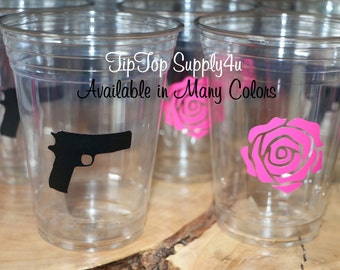 24 Guns N Roses 10,12 or 16 oz. clear disposable cup. Baby Shower, Gender reveal, Birthday party, pistol, rose, sprinkle party. C219+164