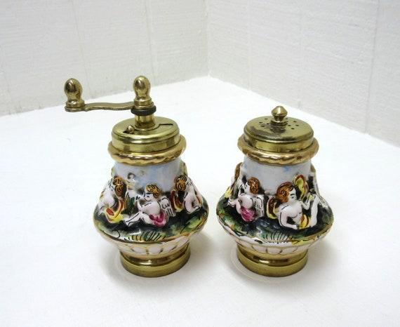 Vintage Capodimonte ITALIAN Salt Shaker & Pepper Grinder ARAM