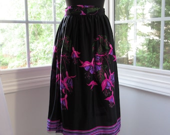 Aya, 70s Black Wrap Skirt with Bright Florals of Pink and Purple, Green Leaves