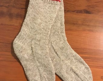 Beige & Red Work/Boot Socks