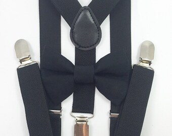 FREE DOMESTIC SHIPPING! Black suspenders and black bow tie kids boy boys teens adult wedding pictures birthday formal