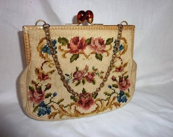Vintage Needle Point Purse Spring Flowers