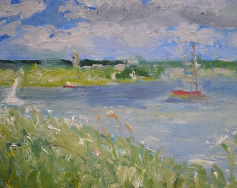 Oil Painting oil painting original oil painting landscape oil painting impressionist style of the River Deben Near Woodbridge Suffolk