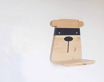 Wooden bandit bear shelf - modern bandit bear shelf - handmade floating bandit bear shelf