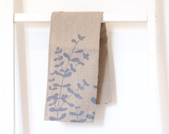 Raw Linen Tea Towel Eucalyptus