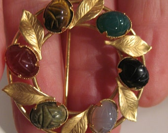 Vintage Genuine Gemstone Scarab & Leaf Brooch/Pin Signed KL 12K GF