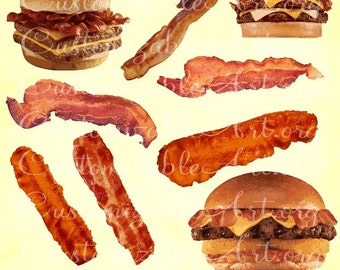 Bacon Clipart Digital Bacon Clip Art Cooked Fried Grilled Greasy Bacon Clipart Images Graphics Scrapbook Realistic Printable Bacon Clipart