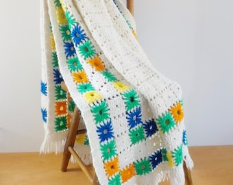 Vintage Afghan Ivory with Starbursts and Fringe • Ivory Squares with Blue Green Orange and Yellow