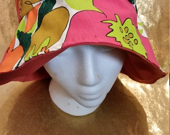 Reversible Floral Fabric Bucket Hat