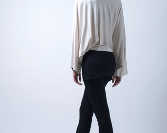 Skirted Leggings / Womens Tights / Yoga Pants with an Attached Skirt / Fold Over / Marcellamoda - MP0026