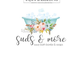 Bath Logo, Soap Maker Logo, Bath Bombs Logo Design, Boutique Logo, Spa Logo, Watercolor Logo