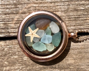 Rose gold sea glass memory locket necklace