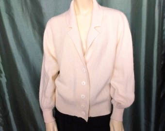 Vintage Size M Cardigan/ Off White Knit Cardigan/ 80's Cardigan with Collar/Buttons Front Sweater/Gift Idea/No.411