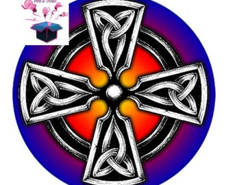 1 cabochon clear 20mm Celtic Cross theme